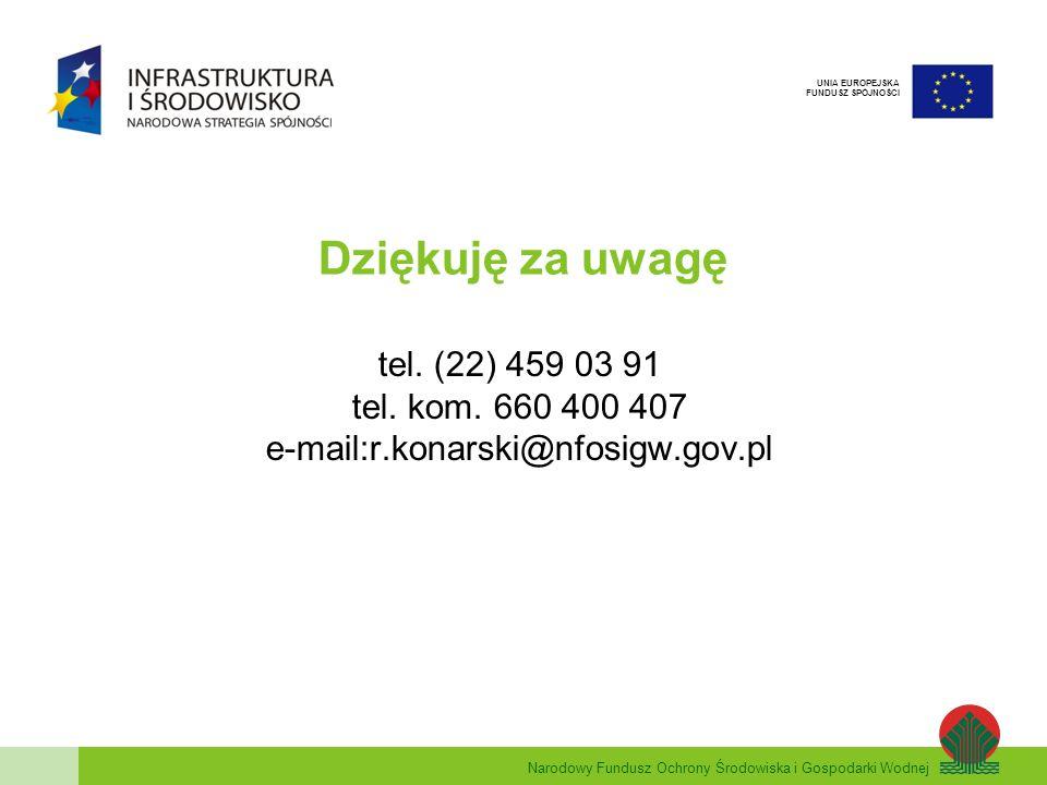 Narodowy Fundusz Ochrony Środowiska i Gospodarki Wodnej UNIA EUROPEJSKA FUNDUSZ SPÓJNOŚCI Dziękuję za uwagę tel. (22) 459 03 91 tel. kom. 660 400 407