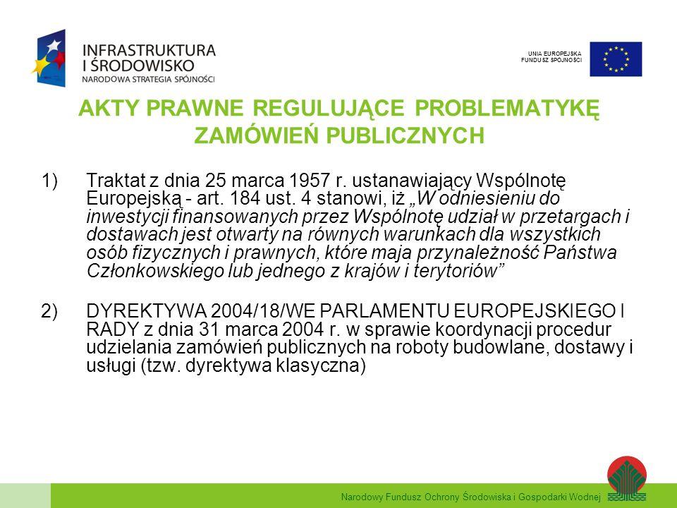 Narodowy Fundusz Ochrony Środowiska i Gospodarki Wodnej UNIA EUROPEJSKA FUNDUSZ SPÓJNOŚCI AKTY PRAWNE REGULUJĄCE PROBLEMATYKĘ ZAMÓWIEŃ PUBLICZNYCH 3)DYREKTYWA 2004/17/WE PARLAMENTU EUROPEJSKIEGO I RADY z dnia 31 marca 2004 r.