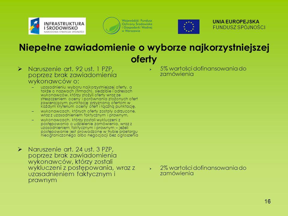 UNIA EUROPEJSKA FUNDUSZ SPÓJNOŚCI 16 Niepełne zawiadomienie o wyborze najkorzystniejszej oferty Naruszenie art.