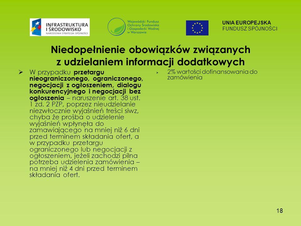 UNIA EUROPEJSKA FUNDUSZ SPÓJNOŚCI 18 Niedopełnienie obowiązków związanych z udzielaniem informacji dodatkowych W przypadku przetargu nieograniczonego, ograniczonego, negocjacji z ogłoszeniem, dialogu konkurencyjnego i negocjacji bez ogłoszenia – naruszenie art.