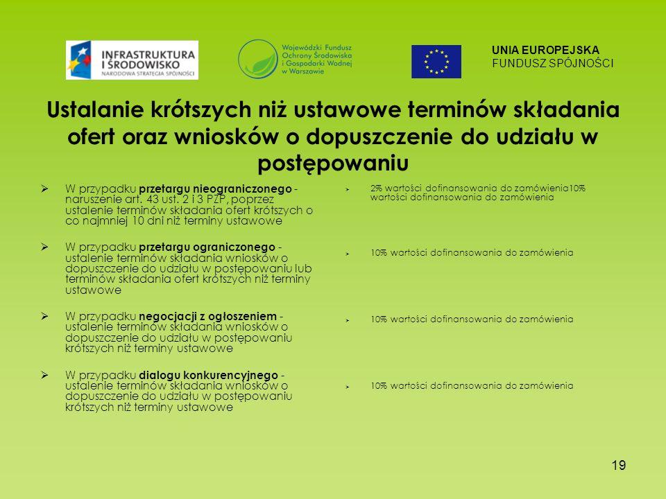 UNIA EUROPEJSKA FUNDUSZ SPÓJNOŚCI 19 Ustalanie krótszych niż ustawowe terminów składania ofert oraz wniosków o dopuszczenie do udziału w postępowaniu W przypadku przetargu nieograniczonego - naruszenie art.