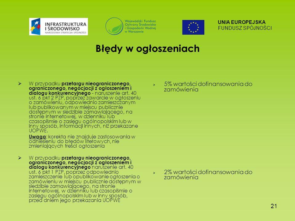 UNIA EUROPEJSKA FUNDUSZ SPÓJNOŚCI 21 Błędy w ogłoszeniach W przypadku przetargu nieograniczonego, ograniczonego, negocjacji z ogłoszeniem i dialogu konkurencyjnego - naruszenie art.