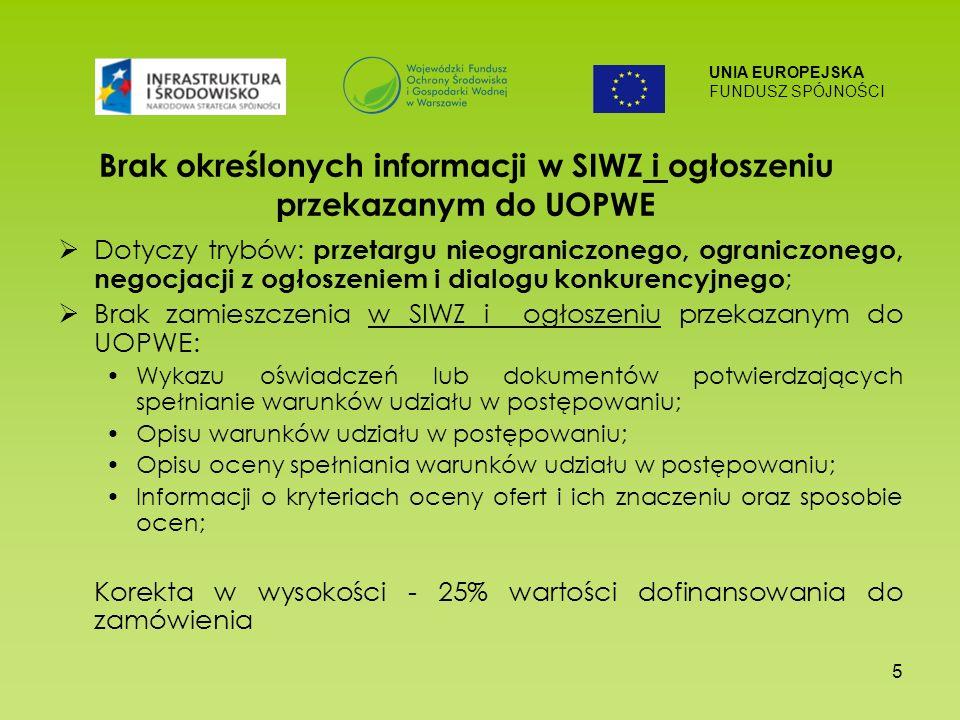 UNIA EUROPEJSKA FUNDUSZ SPÓJNOŚCI 5 Brak określonych informacji w SIWZ i ogłoszeniu przekazanym do UOPWE Dotyczy trybów: przetargu nieograniczonego, ograniczonego, negocjacji z ogłoszeniem i dialogu konkurencyjnego ; Brak zamieszczenia w SIWZ i ogłoszeniu przekazanym do UOPWE: Wykazu oświadczeń lub dokumentów potwierdzających spełnianie warunków udziału w postępowaniu; Opisu warunków udziału w postępowaniu; Opisu oceny spełniania warunków udziału w postępowaniu; Informacji o kryteriach oceny ofert i ich znaczeniu oraz sposobie ocen; Korekta w wysokości - 25% wartości dofinansowania do zamówienia