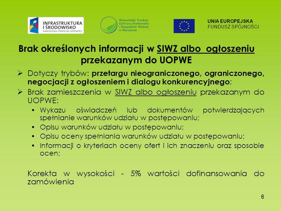 UNIA EUROPEJSKA FUNDUSZ SPÓJNOŚCI 6 Brak określonych informacji w SIWZ albo ogłoszeniu przekazanym do UOPWE Dotyczy trybów: przetargu nieograniczonego, ograniczonego, negocjacji z ogłoszeniem i dialogu konkurencyjnego ; Brak zamieszczenia w SIWZ albo ogłoszeniu przekazanym do UOPWE: Wykazu oświadczeń lub dokumentów potwierdzających spełnianie warunków udziału w postępowaniu; Opisu warunków udziału w postępowaniu; Opisu oceny spełniania warunków udziału w postępowaniu; Informacji o kryteriach oceny ofert i ich znaczeniu oraz sposobie ocen; Korekta w wysokości - 5% wartości dofinansowania do zamówienia