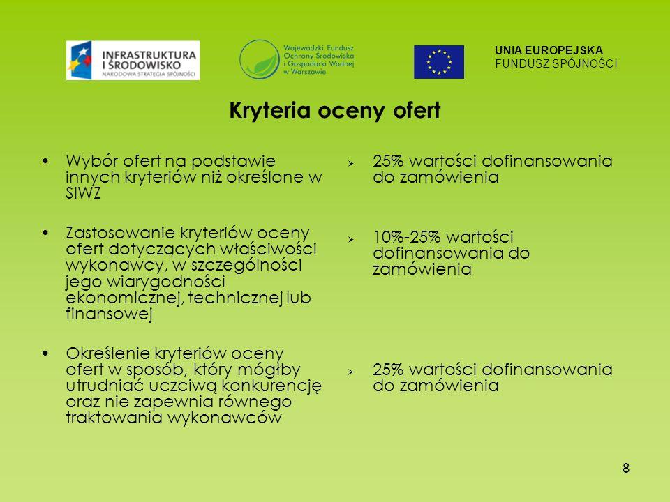 UNIA EUROPEJSKA FUNDUSZ SPÓJNOŚCI 8 Kryteria oceny ofert Wybór ofert na podstawie innych kryteriów niż określone w SIWZ Zastosowanie kryteriów oceny ofert dotyczących właściwości wykonawcy, w szczególności jego wiarygodności ekonomicznej, technicznej lub finansowej Określenie kryteriów oceny ofert w sposób, który mógłby utrudniać uczciwą konkurencję oraz nie zapewnia równego traktowania wykonawców 25% wartości dofinansowania do zamówienia 10%-25% wartości dofinansowania do zamówienia 25% wartości dofinansowania do zamówienia