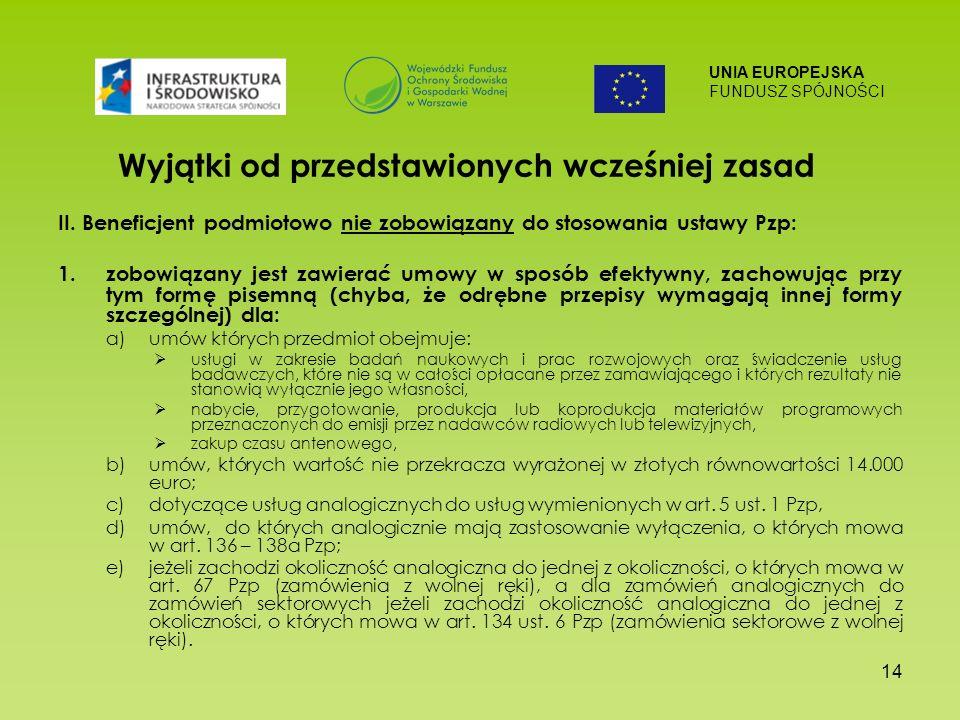 UNIA EUROPEJSKA FUNDUSZ SPÓJNOŚCI 14 Wyjątki od przedstawionych wcześniej zasad II.