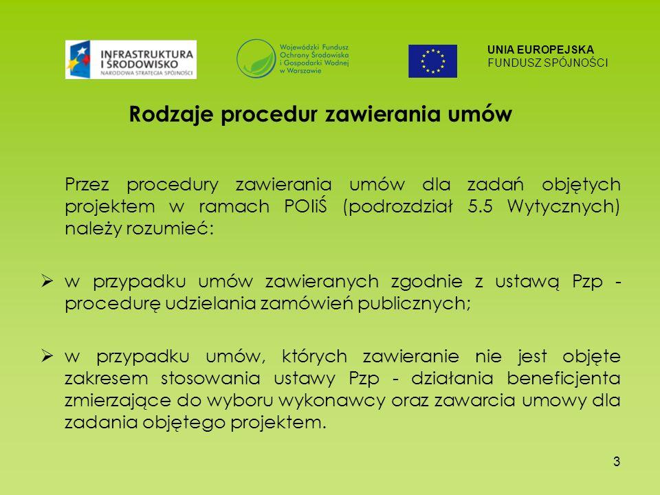 UNIA EUROPEJSKA FUNDUSZ SPÓJNOŚCI 3 Rodzaje procedur zawierania umów Przez procedury zawierania umów dla zadań objętych projektem w ramach POIiŚ (podrozdział 5.5 Wytycznych) należy rozumieć: w przypadku umów zawieranych zgodnie z ustawą Pzp - procedurę udzielania zamówień publicznych; w przypadku umów, których zawieranie nie jest objęte zakresem stosowania ustawy Pzp - działania beneficjenta zmierzające do wyboru wykonawcy oraz zawarcia umowy dla zadania objętego projektem.