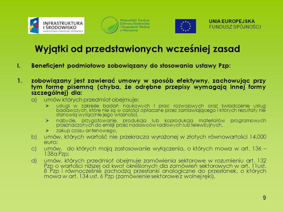 UNIA EUROPEJSKA FUNDUSZ SPÓJNOŚCI 9 Wyjątki od przedstawionych wcześniej zasad I.Beneficjent podmiotowo zobowiązany do stosowania ustawy Pzp: 1.