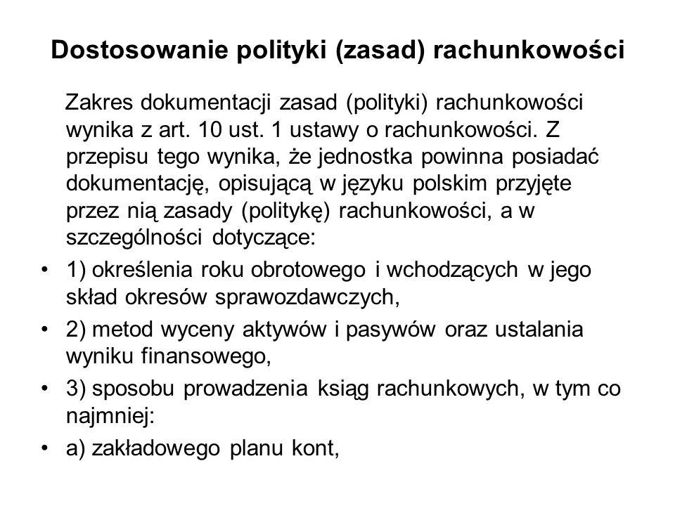 Dostosowanie polityki (zasad) rachunkowości Zakres dokumentacji zasad (polityki) rachunkowości wynika z art. 10 ust. 1 ustawy o rachunkowości. Z przep