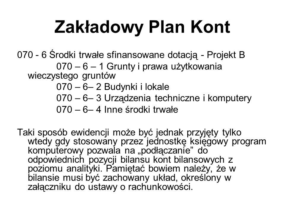 Zakładowy Plan Kont 070 - 6 Środki trwałe sfinansowane dotacją - Projekt B 070 – 6 – 1 Grunty i prawa użytkowania wieczystego gruntów 070 – 6– 2 Budyn
