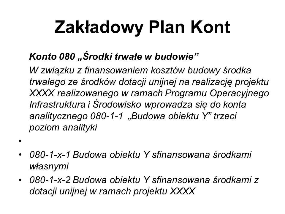Zakładowy Plan Kont Konto 080 Środki trwałe w budowie W związku z finansowaniem kosztów budowy środka trwałego ze środków dotacji unijnej na realizacj