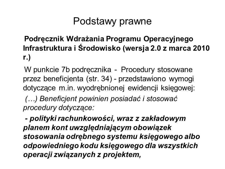 Podstawy prawne Podręcznik Wdrażania Programu Operacyjnego Infrastruktura i Środowisko (wersja 2.0 z marca 2010 r.) W punkcie 7b podręcznika - Procedu