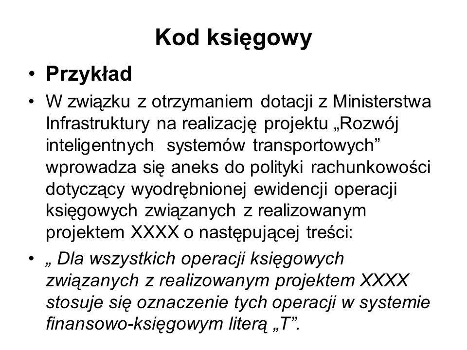Kod księgowy Przykład W związku z otrzymaniem dotacji z Ministerstwa Infrastruktury na realizację projektu Rozwój inteligentnych systemów transportowy