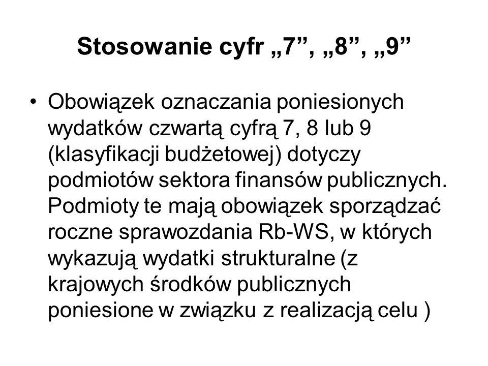 Stosowanie cyfr 7, 8, 9 Obowiązek oznaczania poniesionych wydatków czwartą cyfrą 7, 8 lub 9 (klasyfikacji budżetowej) dotyczy podmiotów sektora finans