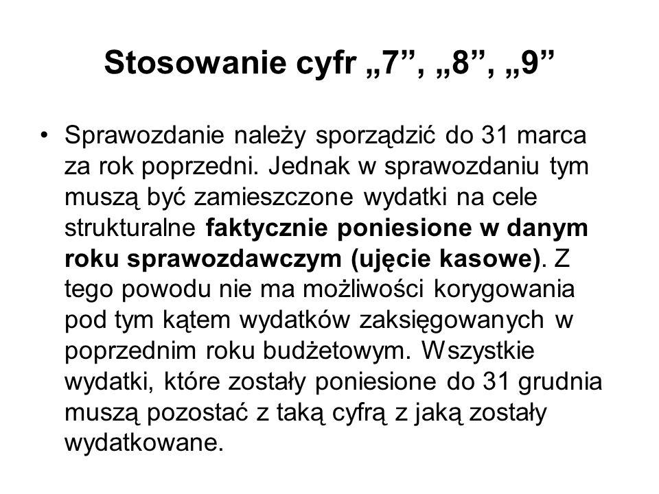 Stosowanie cyfr 7, 8, 9 Sprawozdanie należy sporządzić do 31 marca za rok poprzedni. Jednak w sprawozdaniu tym muszą być zamieszczone wydatki na cele