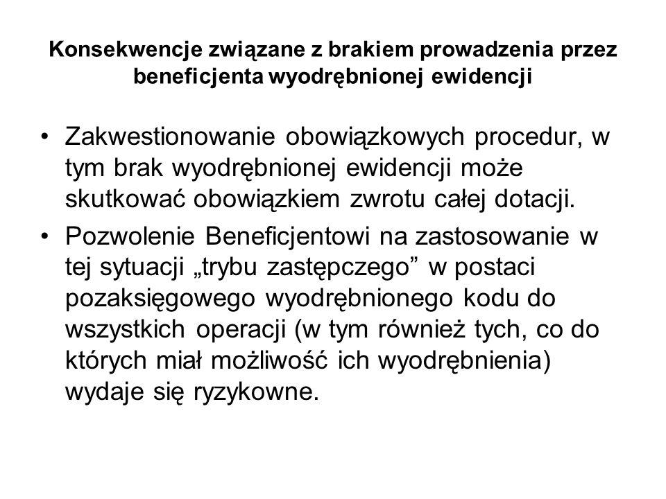 Konsekwencje związane z brakiem prowadzenia przez beneficjenta wyodrębnionej ewidencji Zakwestionowanie obowiązkowych procedur, w tym brak wyodrębnion