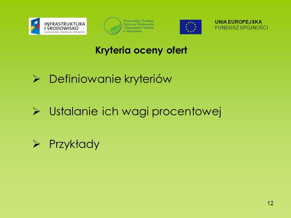 UNIA EUROPEJSKA FUNDUSZ SPÓJNOŚCI 12 Kryteria oceny ofert Definiowanie kryteriów Ustalanie ich wagi procentowej Przykłady