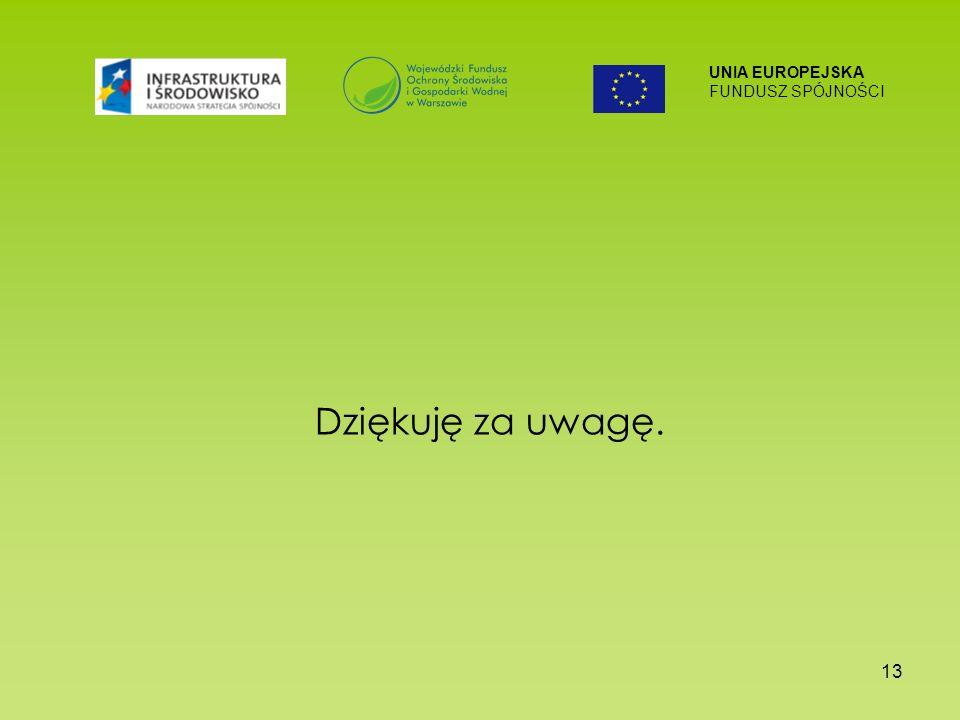 UNIA EUROPEJSKA FUNDUSZ SPÓJNOŚCI 13 Dziękuję za uwagę.