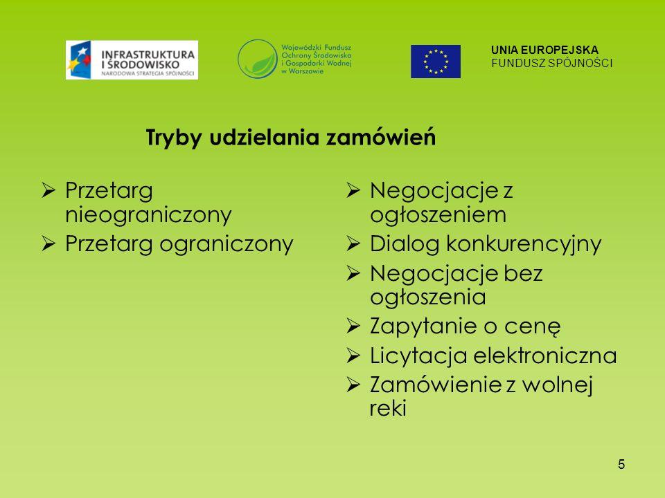 UNIA EUROPEJSKA FUNDUSZ SPÓJNOŚCI 5 Przetarg nieograniczony Przetarg ograniczony Negocjacje z ogłoszeniem Dialog konkurencyjny Negocjacje bez ogłoszenia Zapytanie o cenę Licytacja elektroniczna Zamówienie z wolnej reki Tryby udzielania zamówień