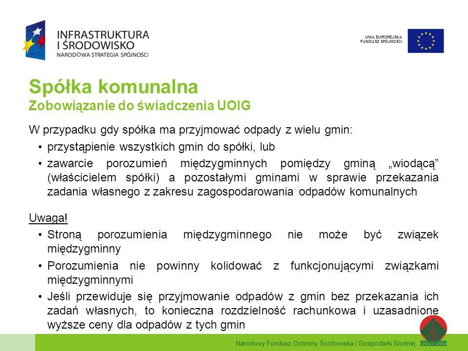 Narodowy Fundusz Ochrony Środowiska i Gospodarki Wodnej UNIA EUROPEJSKA FUNDUSZ SPÓJNOŚCI Spółka komunalna Zobowiązanie do świadczenia UOIG W przypadku gdy spółka ma przyjmować odpady z wielu gmin: przystąpienie wszystkich gmin do spółki, lub zawarcie porozumień międzygminnych pomiędzy gminą wiodącą (właścicielem spółki) a pozostałymi gminami w sprawie przekazania zadania własnego z zakresu zagospodarowania odpadów komunalnych Uwaga.