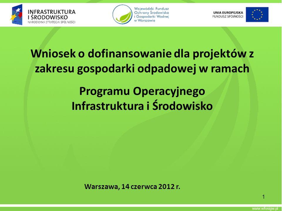 Wniosek o dofinansowanie dla projektów z zakresu gospodarki odpadowej w ramach Programu Operacyjnego Infrastruktura i Środowisko Warszawa, 14 czerwca