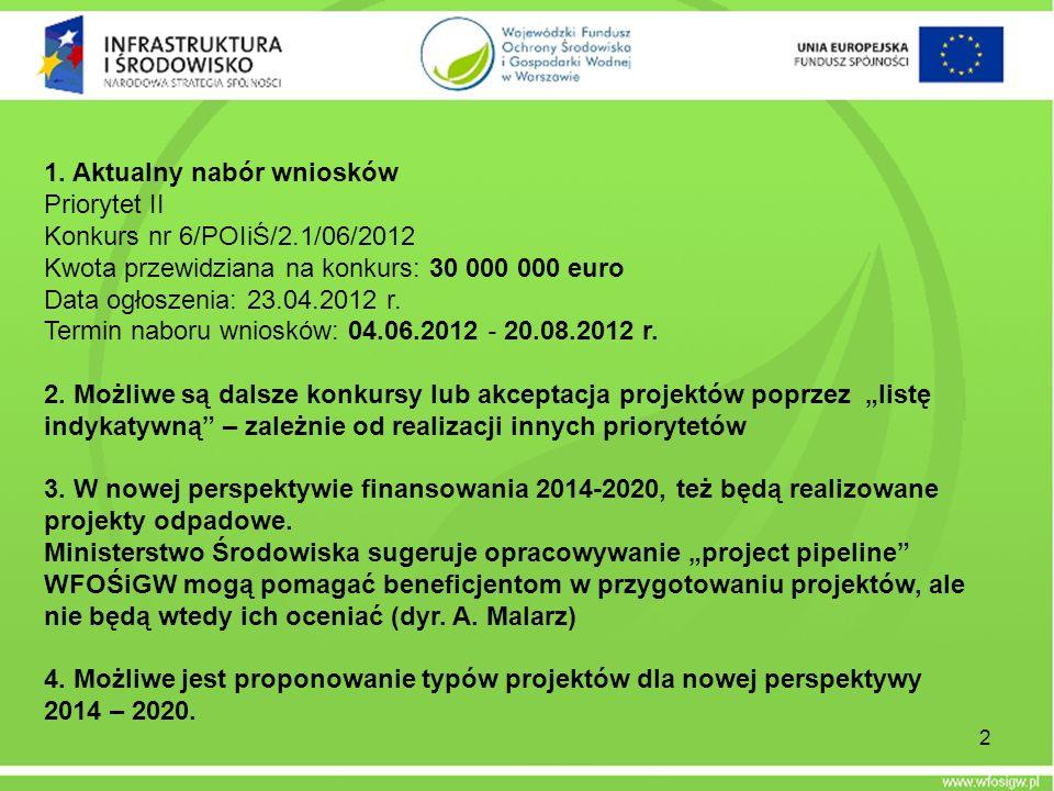 1. Aktualny nabór wniosków Priorytet II Konkurs nr 6/POIiŚ/2.1/06/2012 Kwota przewidziana na konkurs: 30 000 000 euro Data ogłoszenia: 23.04.2012 r. T