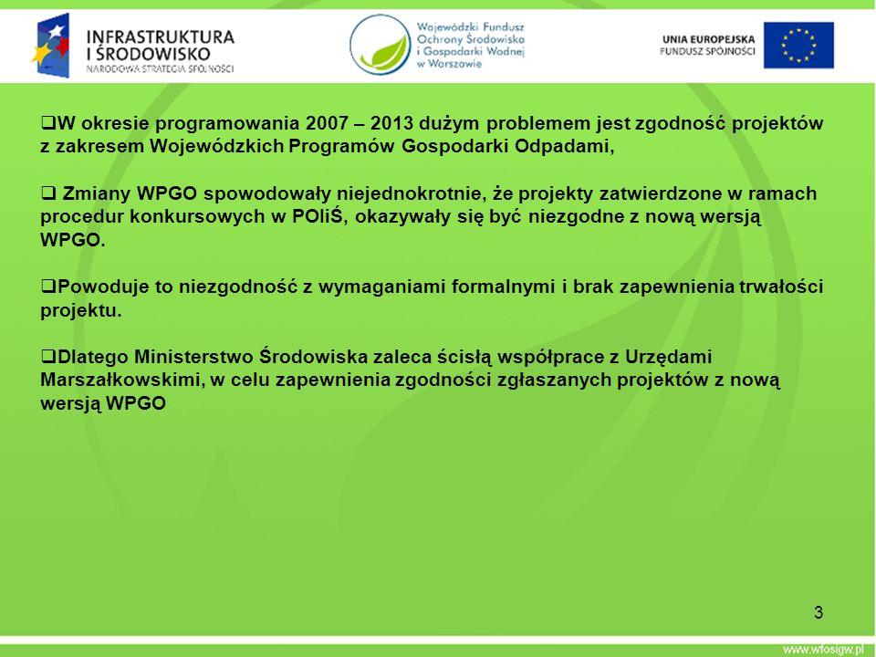 W okresie programowania 2007 – 2013 dużym problemem jest zgodność projektów z zakresem Wojewódzkich Programów Gospodarki Odpadami, Zmiany WPGO spowodo