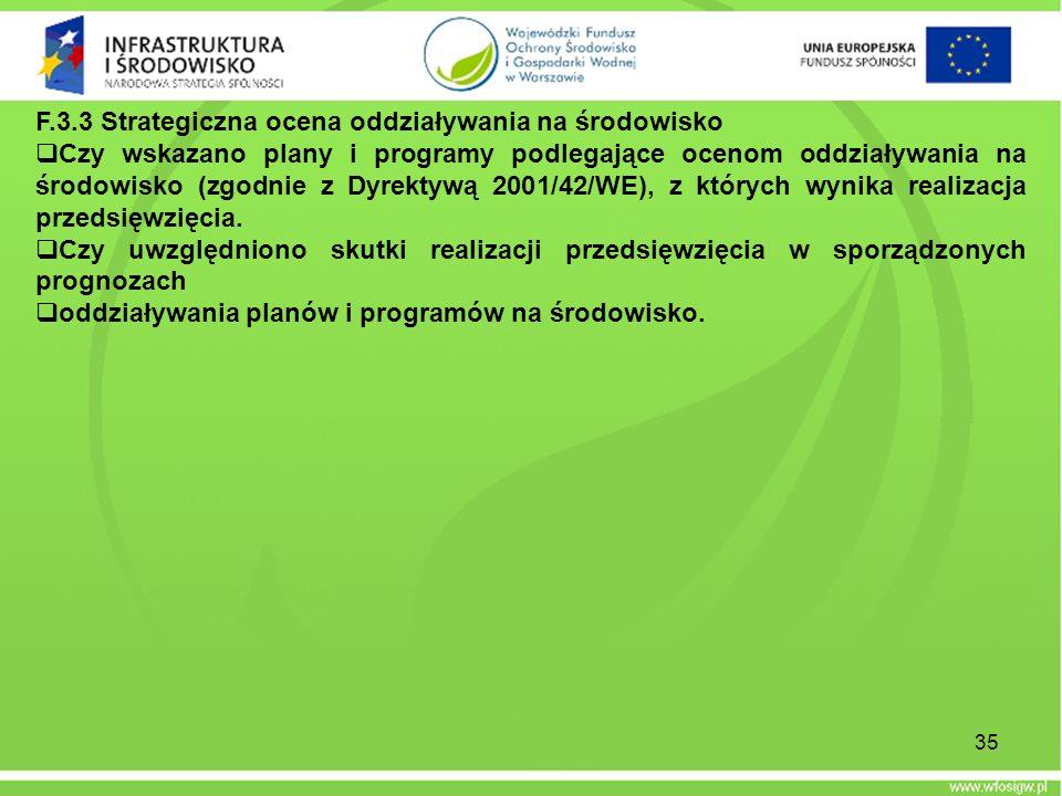 F.3.3 Strategiczna ocena oddziaływania na środowisko Czy wskazano plany i programy podlegające ocenom oddziaływania na środowisko (zgodnie z Dyrektywą
