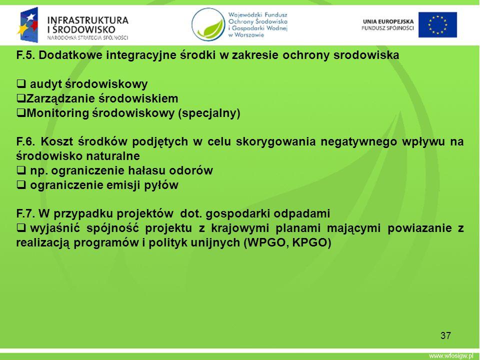 F.5. Dodatkowe integracyjne środki w zakresie ochrony srodowiska audyt środowiskowy Zarządzanie środowiskiem Monitoring środowiskowy (specjalny) F.6.