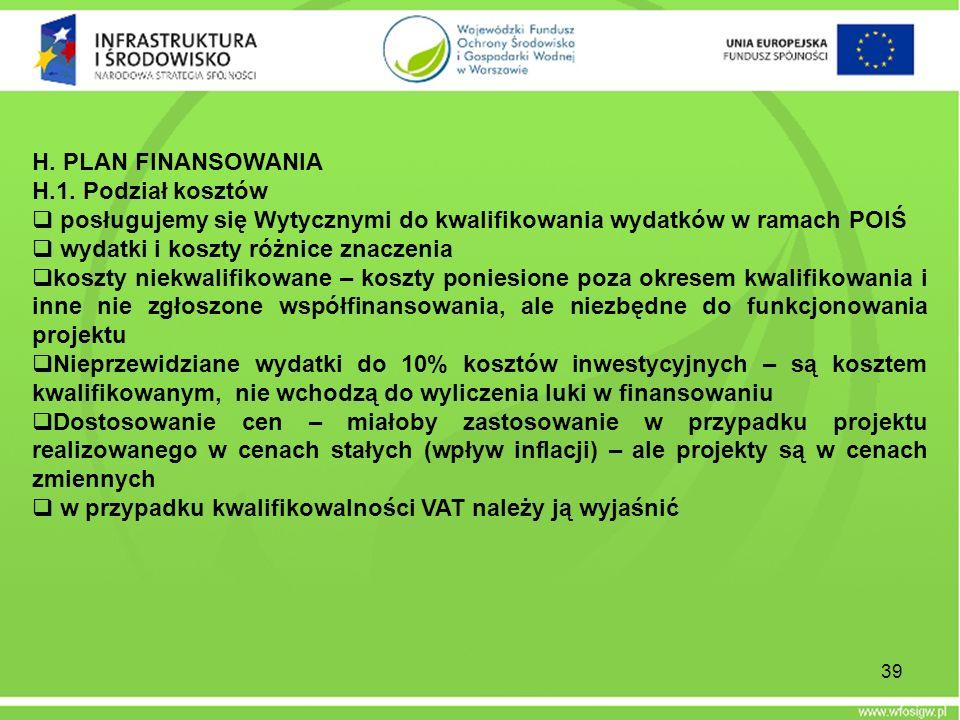 H. PLAN FINANSOWANIA H.1. Podział kosztów posługujemy się Wytycznymi do kwalifikowania wydatków w ramach POIŚ wydatki i koszty różnice znaczenia koszt