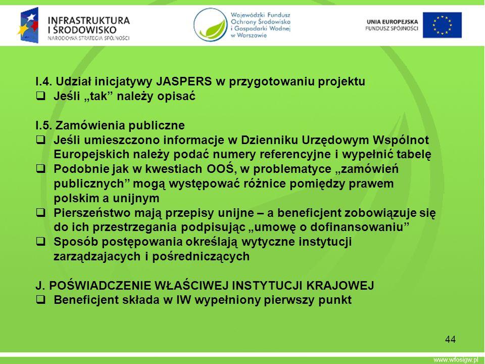 I.4. Udział inicjatywy JASPERS w przygotowaniu projektu Jeśli tak należy opisać I.5. Zamówienia publiczne Jeśli umieszczono informacje w Dzienniku Urz