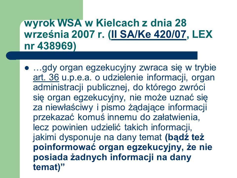 wyrok WSA w Kielcach z dnia 28 września 2007 r. (II SA/Ke 420/07, LEX nr 438969)II SA/Ke 420/07 …gdy organ egzekucyjny zwraca się w trybie art. 36 u.p