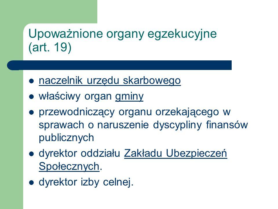 Upoważnione organy egzekucyjne (art.19).