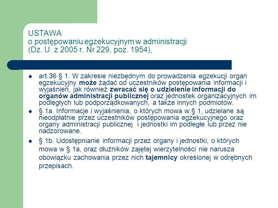 USTAWA o postępowaniu egzekucyjnym w administracji (Dz. U. z 2005 r. Nr 229, poz. 1954), art.36 § 1. W zakresie niezbędnym do prowadzenia egzekucji or