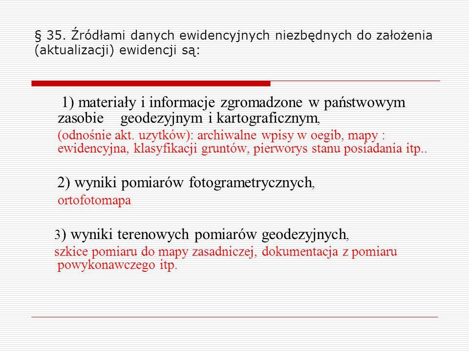 § 35. Źródłami danych ewidencyjnych niezbędnych do założenia (aktualizacji) ewidencji są: 1) materiały i informacje zgromadzone w państwowym zasobie g