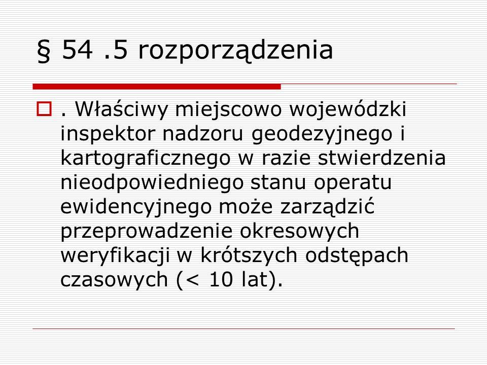 § 54.5 rozporządzenia. Właściwy miejscowo wojewódzki inspektor nadzoru geodezyjnego i kartograficznego w razie stwierdzenia nieodpowiedniego stanu ope