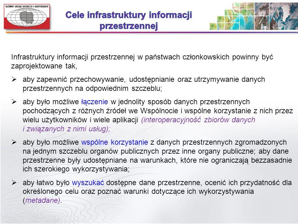 Infrastruktury informacji przestrzennej w państwach członkowskich powinny być zaprojektowane tak, aby zapewnić przechowywanie, udostępnianie oraz utrz
