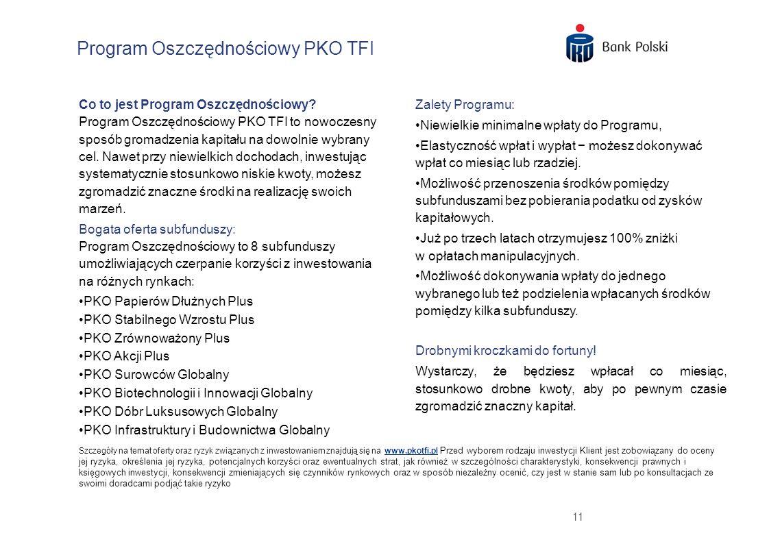 11 Program Oszczędnościowy PKO TFI Zalety Programu: Niewielkie minimalne wpłaty do Programu, Elastyczność wpłat i wypłat możesz dokonywać wpłat co miesiąc lub rzadziej.