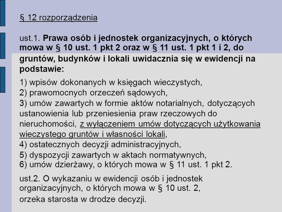 § 12 rozporządzenia ust.1.Prawa osób i jednostek organizacyjnych, o których mowa w § 10 ust.