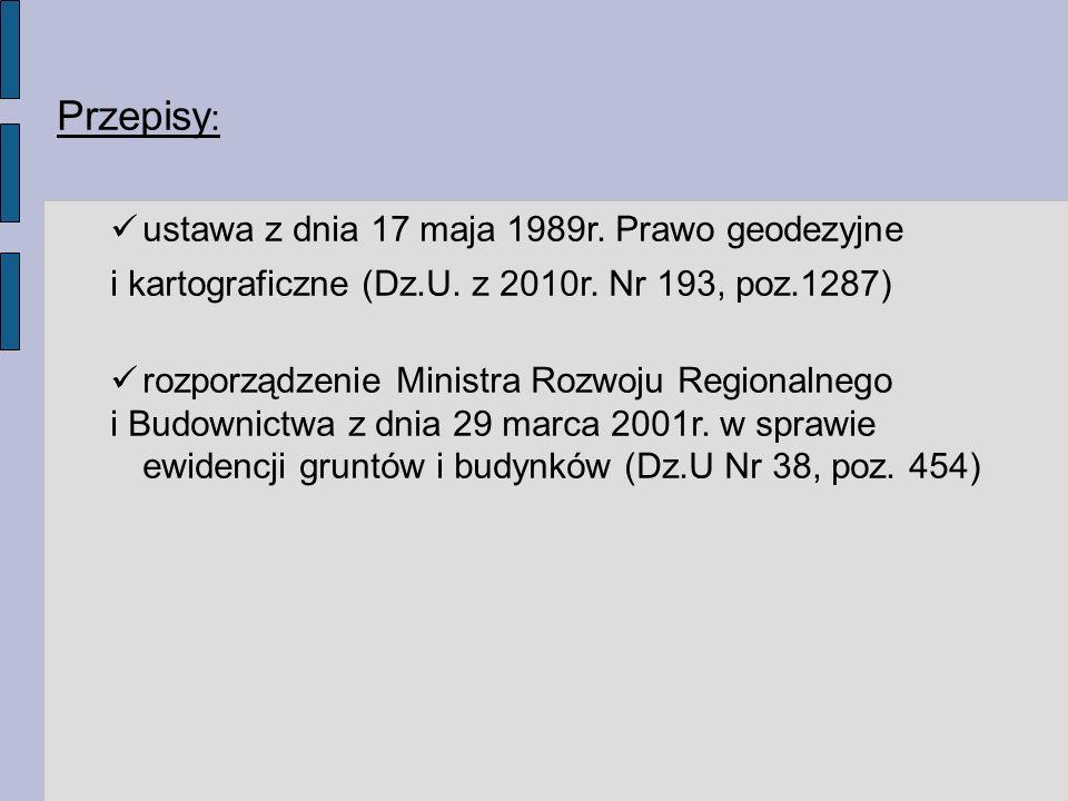 Przepisy : ustawa z dnia 17 maja 1989r.Prawo geodezyjne i kartograficzne (Dz.U.