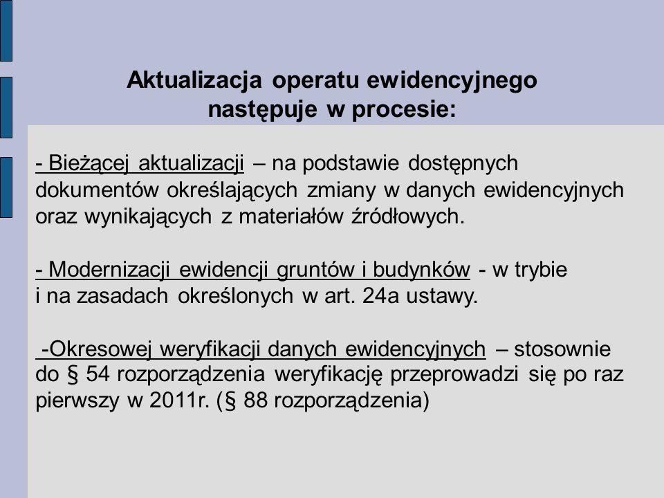 Aktualizacja operatu ewidencyjnego następuje w procesie: - Bieżącej aktualizacji – na podstawie dostępnych dokumentów określających zmiany w danych ewidencyjnych oraz wynikających z materiałów źródłowych.