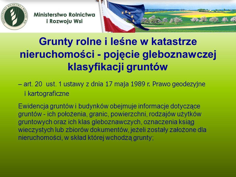 Grunty rolne i leśne w katastrze nieruchomości - pojęcie gleboznawczej klasyfikacji gruntów – art. 20 ust. 1 u stawy z dnia 17 maja 1989 r. Prawo geod