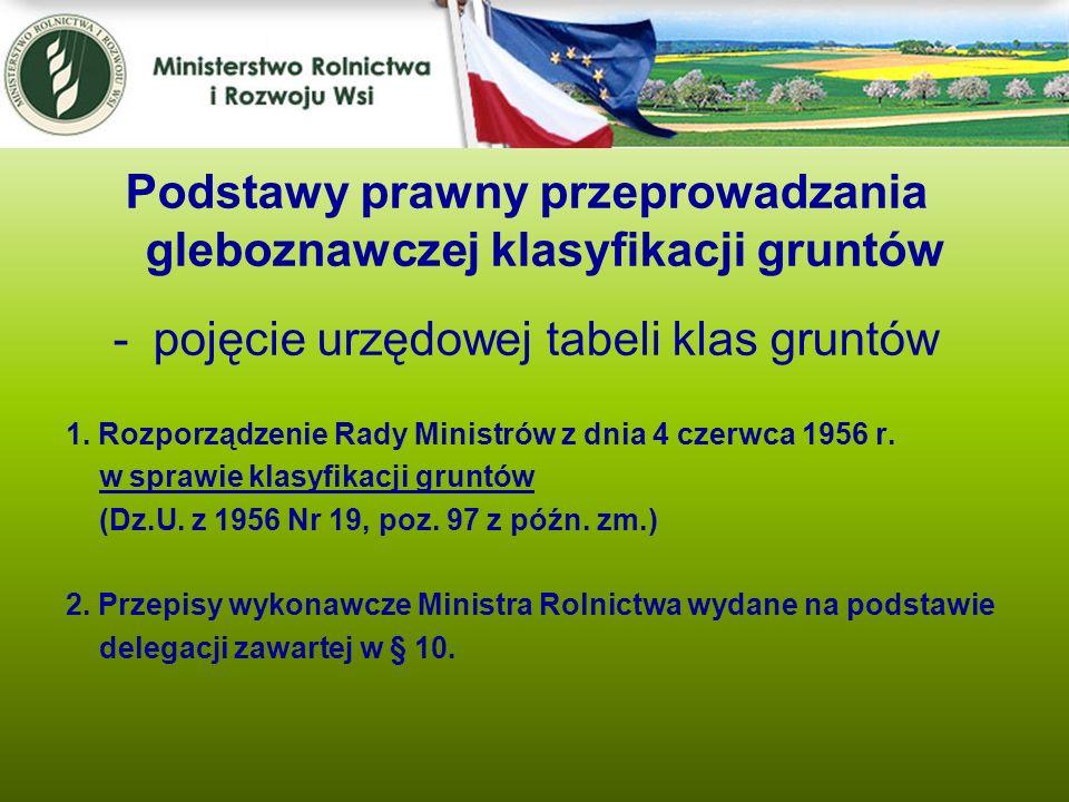 1. Rozporządzenie Rady Ministrów z dnia 4 czerwca 1956 r. w sprawie klasyfikacji gruntów (Dz.U. z 1956 Nr 19, poz. 97 z późn. zm.) 2. Przepisy wykonaw