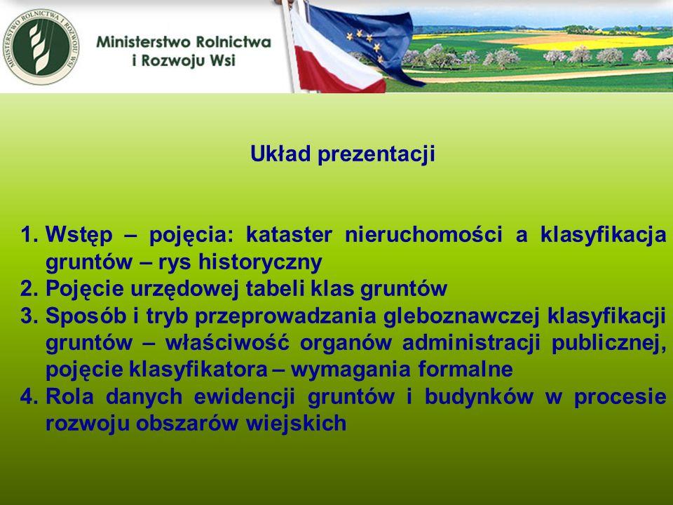 Kwiecień 2005 Układ prezentacji 1.Wstęp – pojęcia: kataster nieruchomości a klasyfikacja gruntów – rys historyczny 2.Pojęcie urzędowej tabeli klas gru