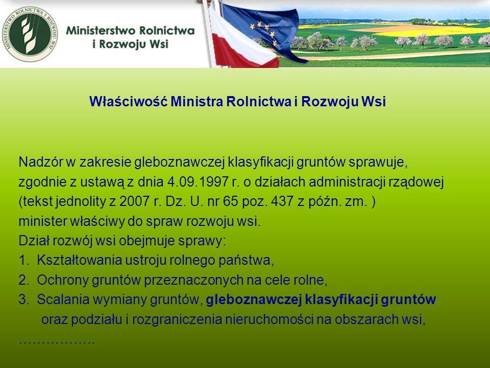 Nadzór w zakresie gleboznawczej klasyfikacji gruntów sprawuje, zgodnie z ustawą z dnia 4.09.1997 r. o działach administracji rządowej (tekst jednolity