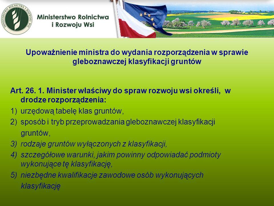 Art. 26. 1. Minister właściwy do spraw rozwoju wsi określi, w drodze rozporządzenia: 1)urzędową tabelę klas gruntów, 2)sposób i tryb przeprowadzania g