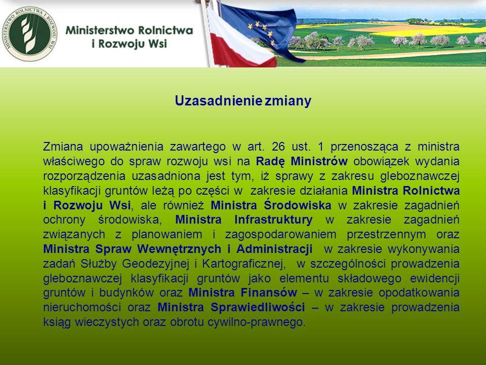 Zmiana upoważnienia zawartego w art. 26 ust. 1 przenosząca z ministra właściwego do spraw rozwoju wsi na Radę Ministrów obowiązek wydania rozporządzen