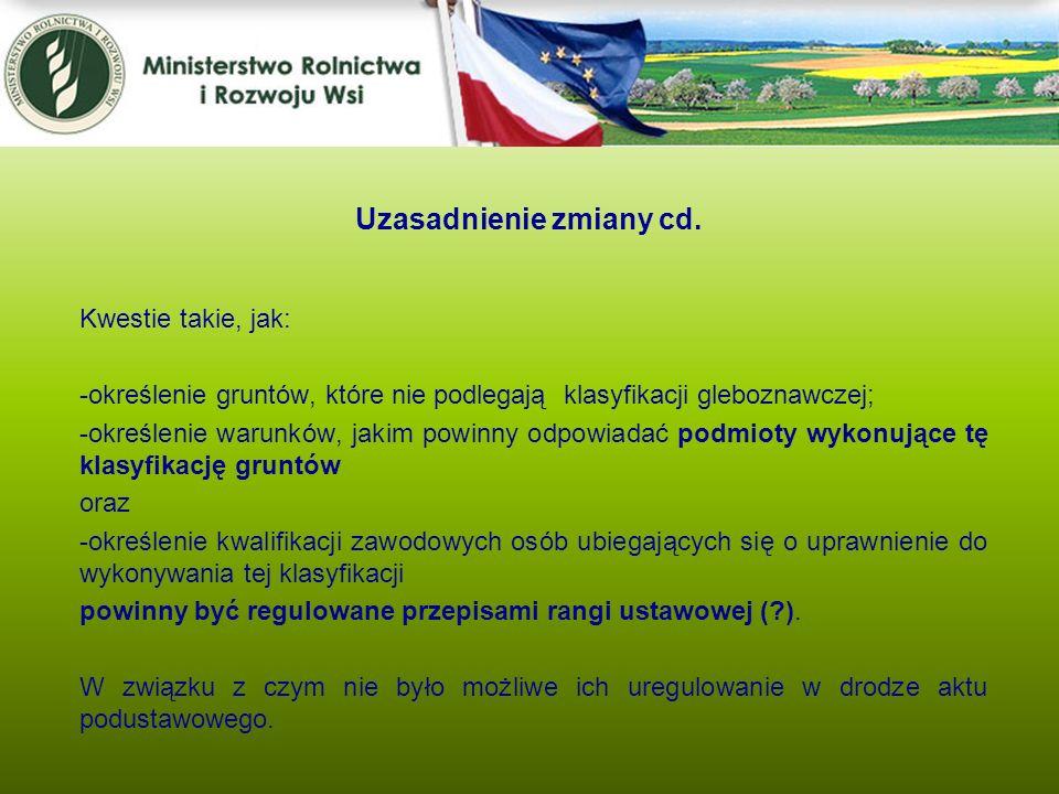 Kwestie takie, jak: -określenie gruntów, które nie podlegają klasyfikacji gleboznawczej; -określenie warunków, jakim powinny odpowiadać podmioty wykon