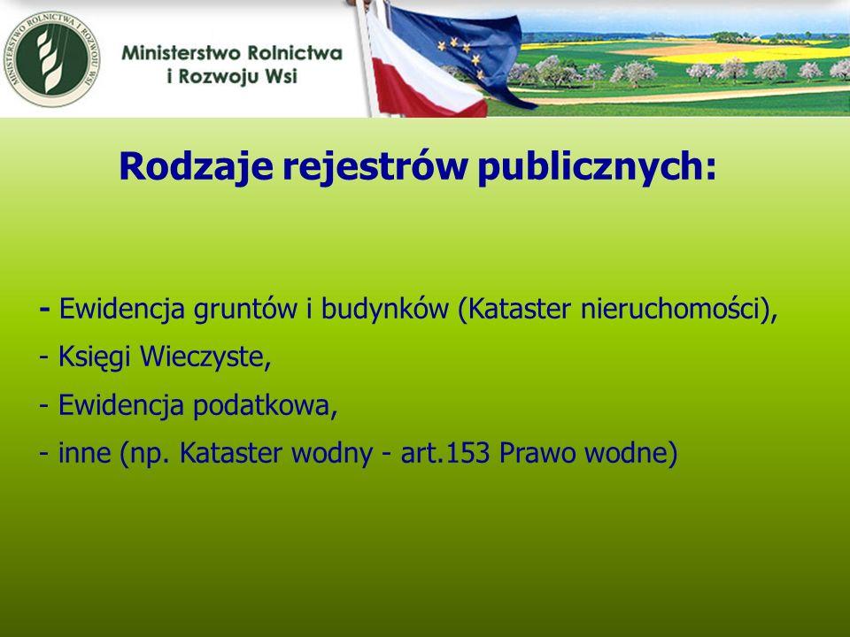 Kwiecień 2005 - Ewidencja gruntów i budynków (Kataster nieruchomości), - Księgi Wieczyste, - Ewidencja podatkowa, - inne (np. Kataster wodny - art.153