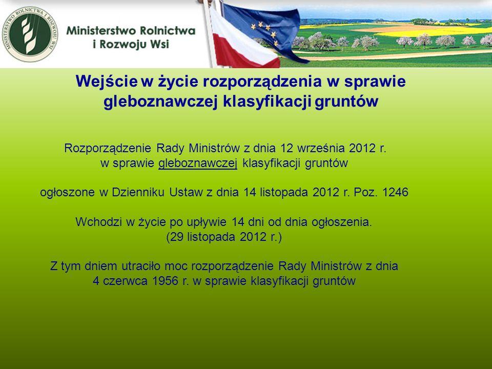 Wejście w życie rozporządzenia w sprawie gleboznawczej klasyfikacji gruntów Rozporządzenie Rady Ministrów z dnia 12 września 2012 r. w sprawie glebozn